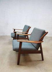 vintage retro lounge chairs Danish style Dutch design midcentury modern arm chairs