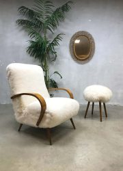 Fantastic vintage sheepskin Art deco lounge chair Halabala style