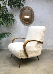vintage bentwood sheepskin armchair, vintage fauteuil schapenvacht