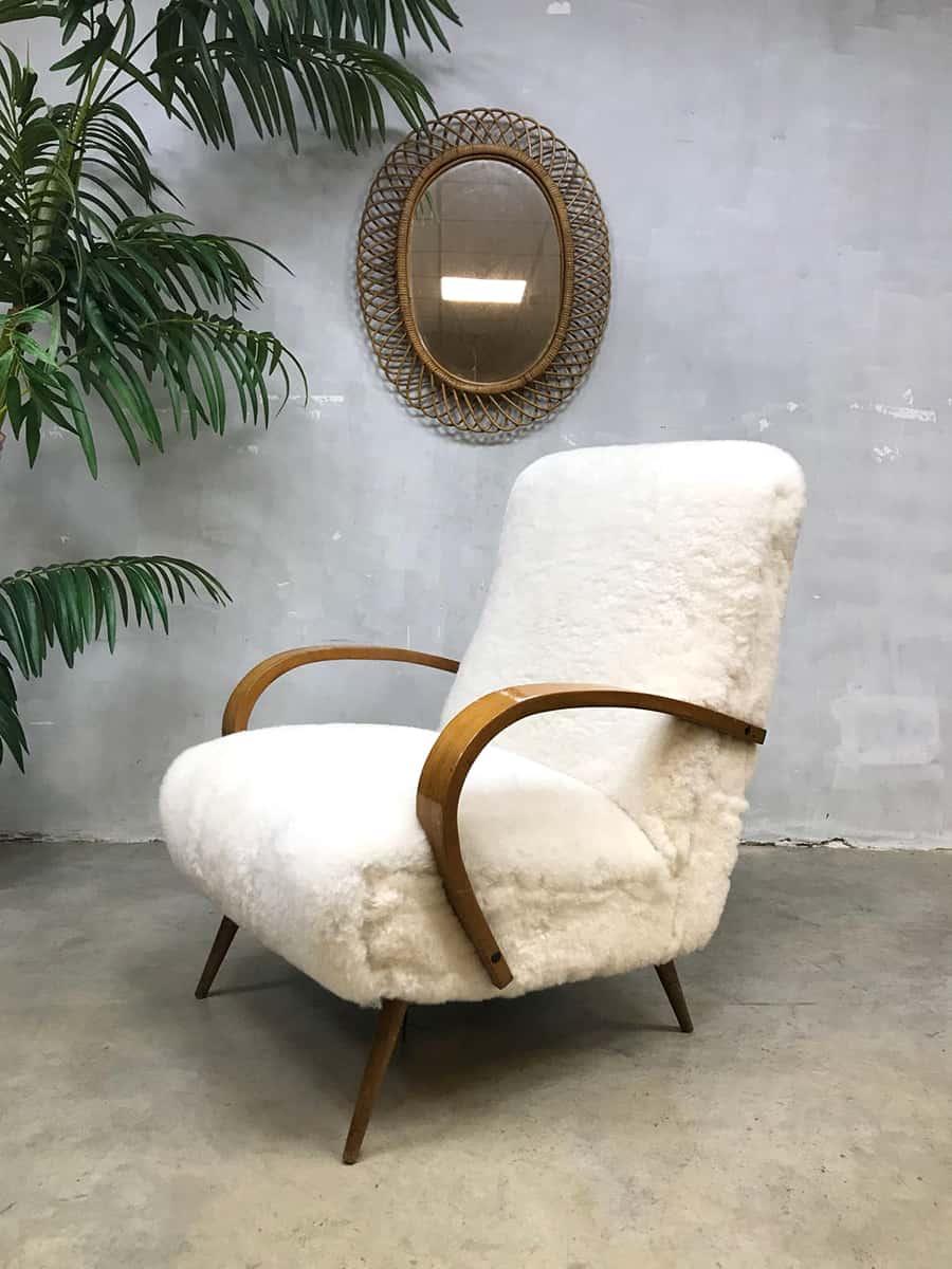 Fantastic Vintage Sheepskin Art Deco Lounge Chair Halabala