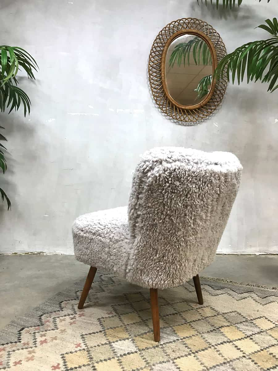 Vintage Cocktail Stoel Schapenvacht Cocktail Chair Teddy