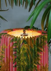 mid century modern lampshade botanical print green floor lamp lamp