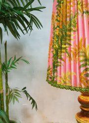 vintage flower floor lamp mid century design jungle print hollywood regency