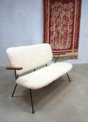 vintage sofa sheepskin faux fur Kembo Gispen midcentury modern