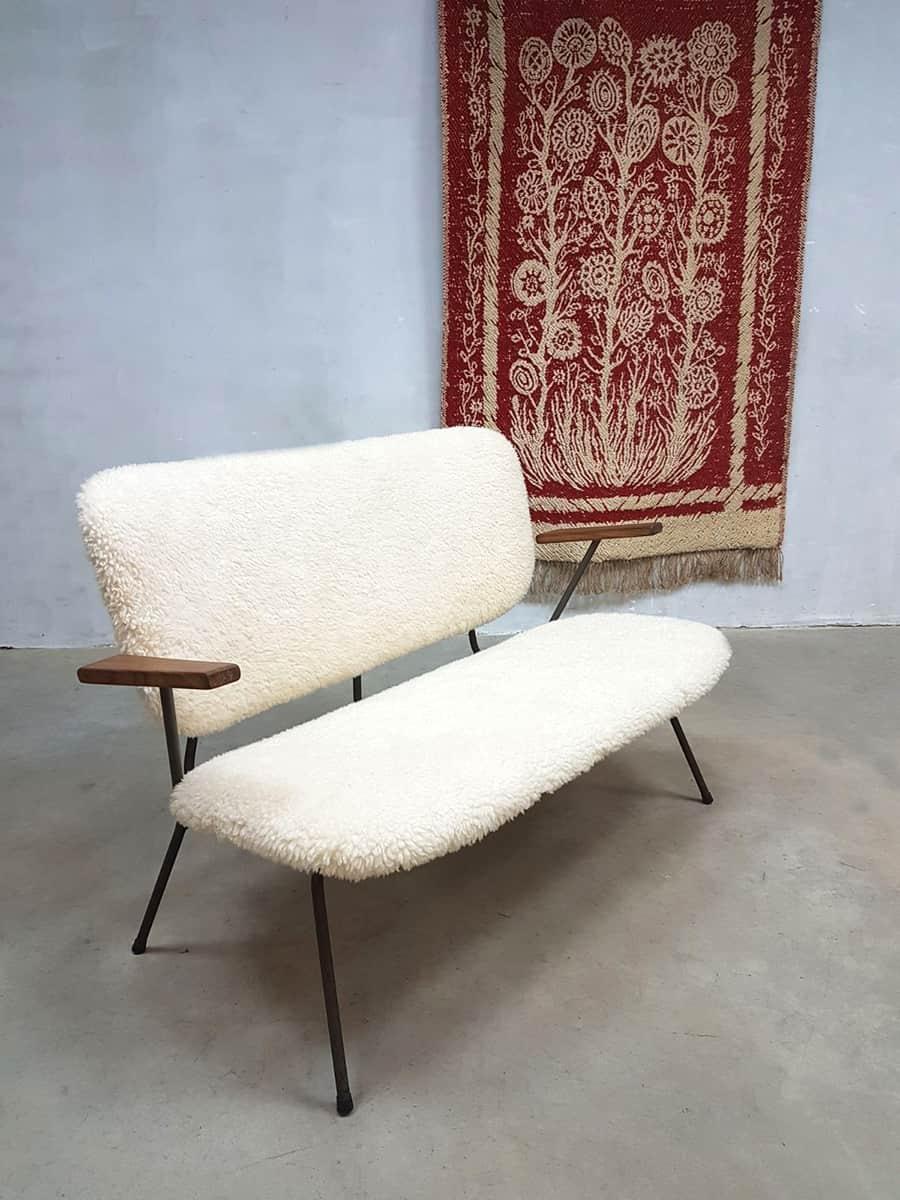 Vintage Sheepskin Lounge Sofa Bank Kembo Gispen