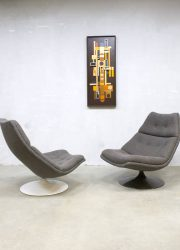 Midcentury vintage design draaifauteuil Artifort swivel chair F511 Geoffrey Harcourt