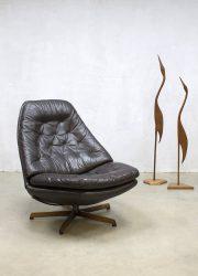 Midcentury design leather swivel chair fauteuil Madsen & Schubel Bovenkamp