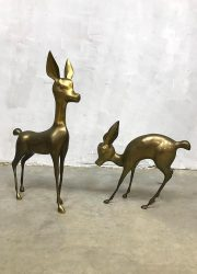 vintage messing goudkleurig hert Bambi deer brass midcentury design