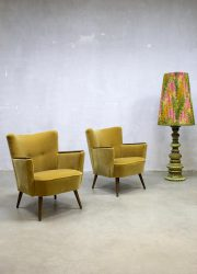 vintage cocktail stoelen oker velours retro fauteuil