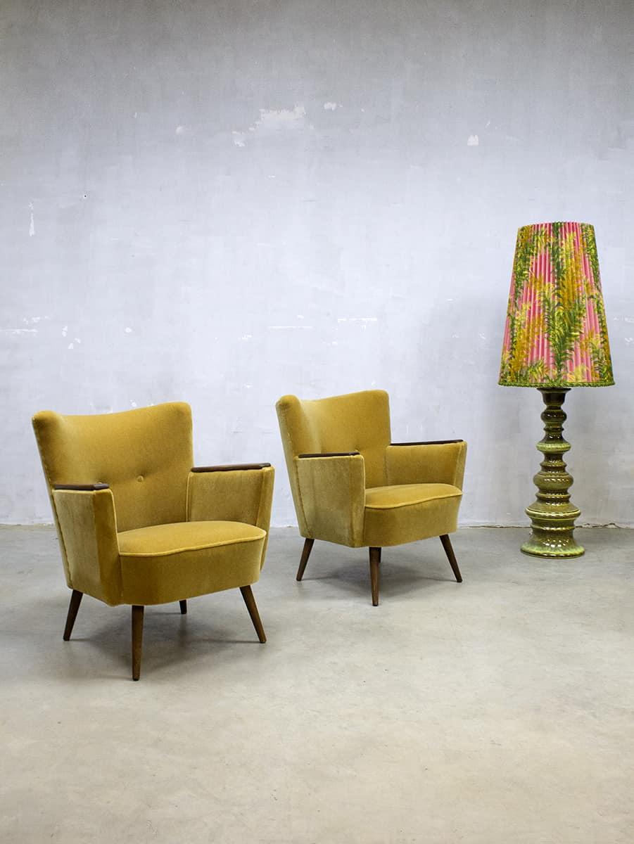 Mooie Retro Stoelen.Vintage Cocktail Chair Velvet Arm Chair Velours Lounge Fauteuil