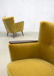 yellow vintage velvet armchair cocktail chair danish style