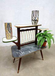 vintage retro display tafeltje bijzettafel plantenstandaard jaren 50 60