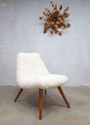 Vintage club chair sheep fur Teddy lounge chair schapenvacht fauteuil