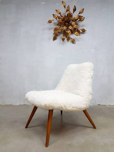 midcentury vintage design easy chair Teddy sheep skin