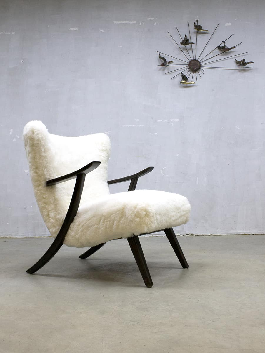 Leuke Design Fauteuil.Vintage Design Sheepskin Armchair Schapenvacht Lounge Fauteuil