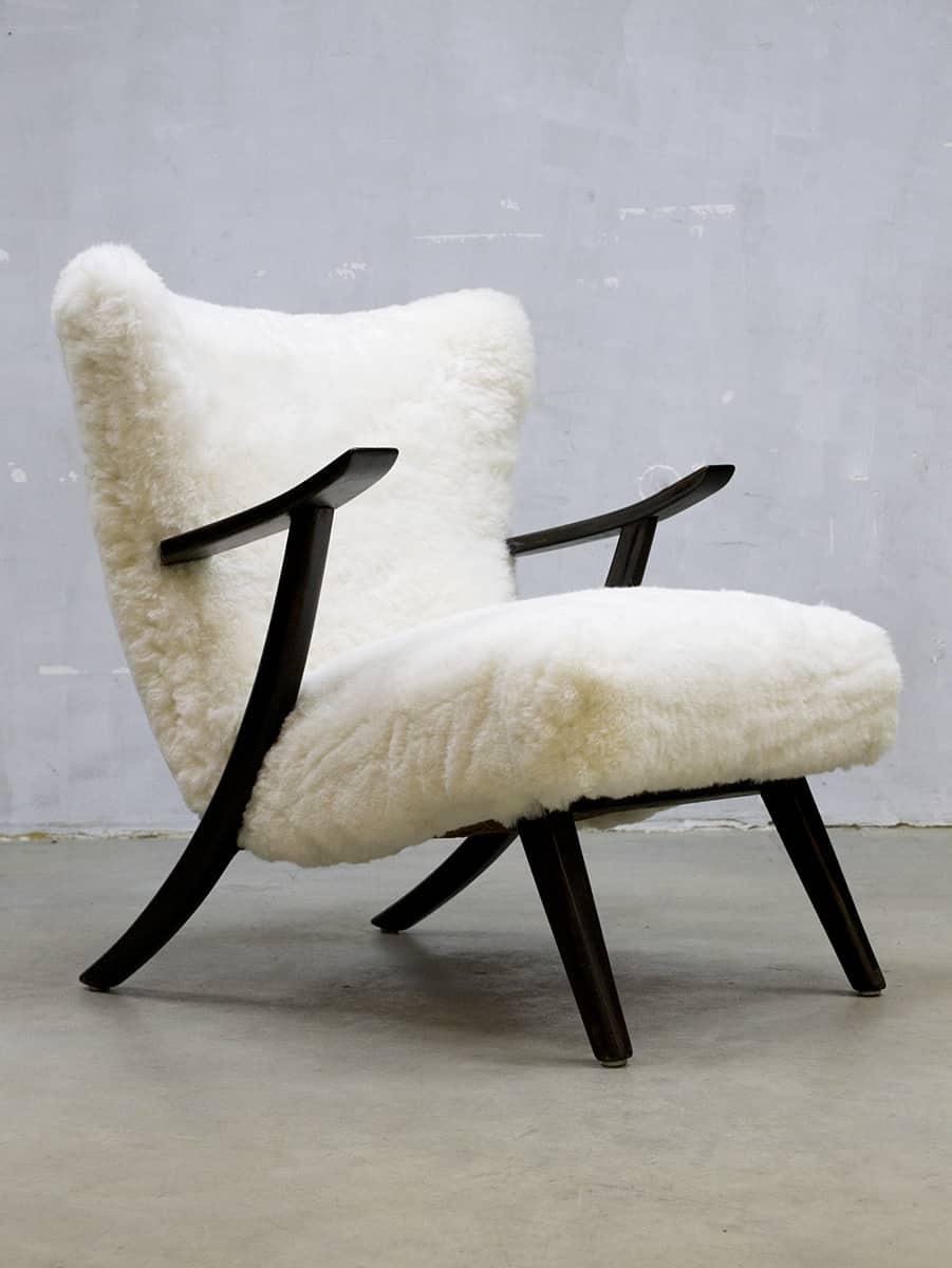 Vintage Design Sheepskin Armchair Schapenvacht Lounge Fauteuil