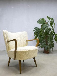 Vintage schapenvacht clubfauteuil easy chair cocktail chair sheepskin Teddy