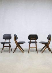 Vintage eetkamerstoelen dinner chairs Webe Louis van Teeffelen teak hout