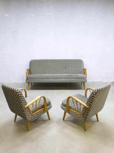 Fifties vintage midcentury design lounge set sofa & armchairs