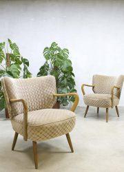 Vintage cocktail stoelen fifties arm chairs clubfauteuils