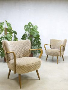 Vintage cocktail stoelen fifties arm chairs clubfauteuils