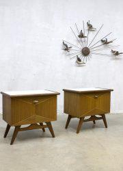 midcentury modern Danish design nightstands vintage nachtkastjes Deense stijl