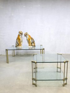 Vintage design glass messing coffee table salontafel bijzettafel Peter Ghyczy 'pure luxury'