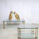 Vintage design glass messing coffee table salontafel bijzettafel Peter Ghyczy 'pure luxury'