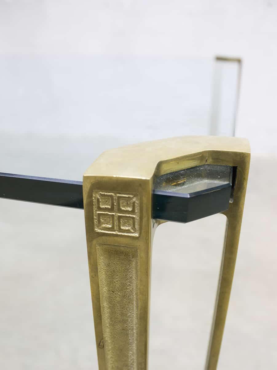 Glazen Bijzettafel Met Messing.Vintage Design Glass Messing Coffee Table Salontafel Tafel Peter Ghyczy
