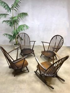 Vintage Ercol spindle back lounge set armchairs rocking chair &coffee table Lucian Ercolani