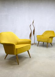 Italian midcentury vintage design golden armchairs club chair 'pure luxury'