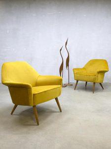 Italian midcentury vintage design golden armchairs club chair 'pure luxury'