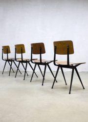vintage design school chairs industrial Wim Rietveld Ahrend de Cirkel school stoelen