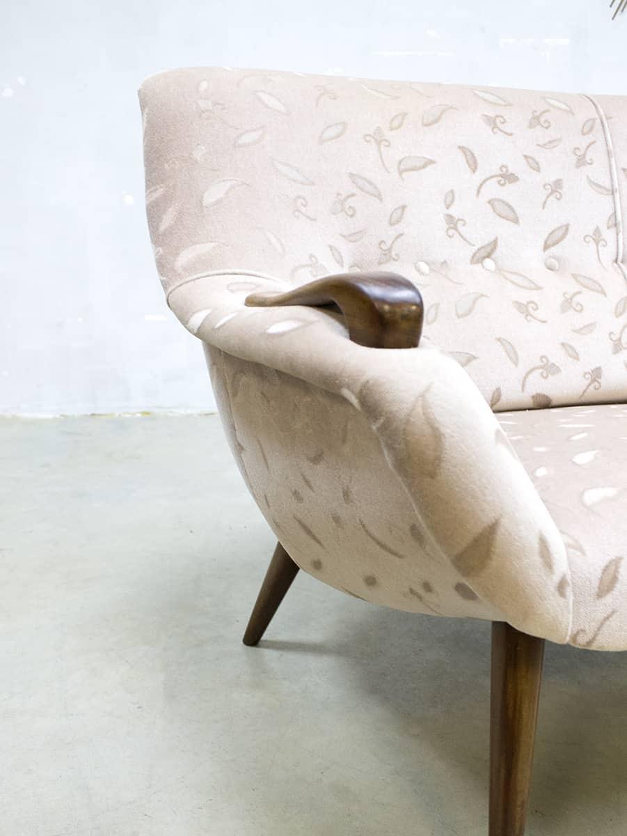 Midcentury Vintage Design Cocktail Bank Sofa Velvet