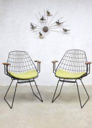 Midcentury vintage design wire lounge chairs draadstoelen Pastoe Cees Braakman