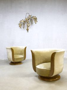 Pair Art deco Tulip lounge chairs tulpstoel hotel 'Le Malandre' model Depose