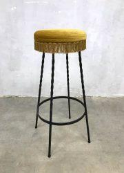 vintage barkruk velour industrieel Industrial barstool velvet sixties retro