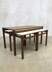 jaren 60 retro salontafel bijzettafel Pastoe stijl mimiset nesting tables coffee table sixties