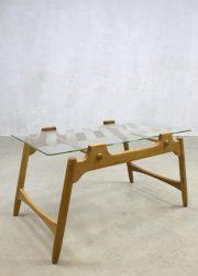 vintage glazen salontafel bijzettafel Deense stijl coffee table Danish style retro