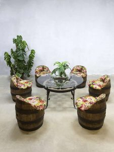 Vintage barrel chairs café stoelen ton Garden lounge set Flower print