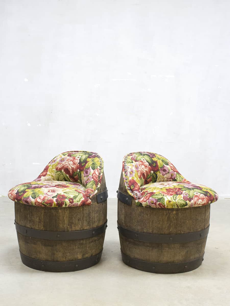 6 Cafe Stoelen.Vintage Barrel Chairs Flowerprint Cafe Bar Tonnen Stoelen Industrial