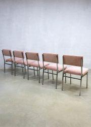 vintage eetkamer stoel industrieel roze Industrial pink dinner chair dining chairs