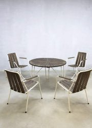 Vintage garden set chairs & outdoor table industriële tuinset tuinstoelen