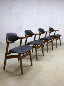 Midcentury vintage Dutch design koehoorn stoelen cowhorn chairs Tijsseling