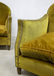 vintage lounge fauteuil goud velours luxe France design