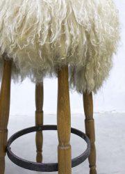 vintage barkrukken barstools sheepskin schapenvel Spahn Germany barstools