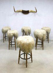 midcentury design barstools sheepskin leather fur stools barkrukken Germany