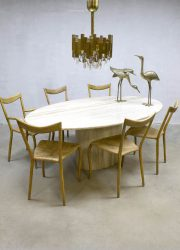 Midcentury modern polished travertine marmer eetkamertafel dining table