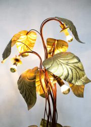 vintage design floor lamp brass golden rhubarb leaf light