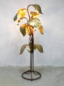 Mid century vloerlamp brass rhubarb leaf floor lamp Hollywood regency style